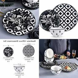 12 PC Dinnerware Set, Dishes Dinner Plate Set Service For