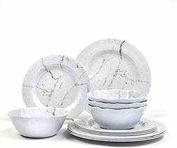 12-Piece Melamine Dinnerware Set | Marble Design