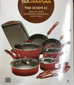 Rachael Ray 14 Pc Hard Enamel Nonstick Cookware Set Red 1702