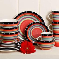 16 PIECE RED DINNERWARE SET Kitchen Home Dining Table Servic
