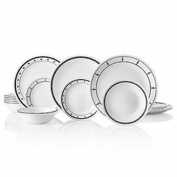 Corelle 18-Piece Service for 6, Chip Resistant, Black and Wh
