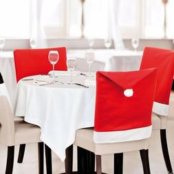 2/4/6PCS Santa Clause Hat Chair Back Covers Kitchen Chair Co