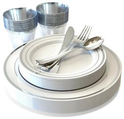 25 Guest Silver Plastic Dinnerware Set Disposable Plates Cup