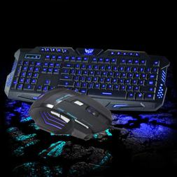3 Colors LED Backlit USB Wired Gaming Keyboard Multimedia an
