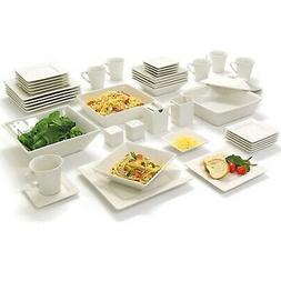 45-Piece Square Dinnerware Set For 6 Banquet Dinner Plates D