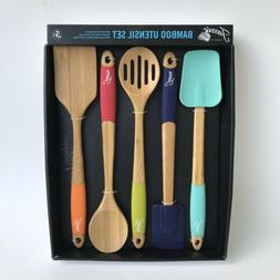 Fiesta 5-Piece Bamboo and Silicone Utensil Set Colorful Mult