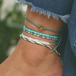 5Pcs/Set Boho Turquoise Bead Anklets For Women Layer Anklet