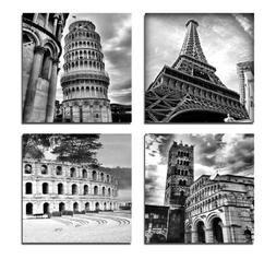 Wieco Art Architectures Modern 4 Panels Giclee Canvas Prints