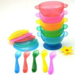Baby Dinnerware Sets - Non-Slip Suction Cup Bowls + Spoons S