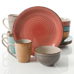 Gibson Home Color Vibes Pastel 12 Piece Mix and Match Dinerw