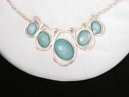Costume Jewelry Necklace Turquoise Stones set in Gold
