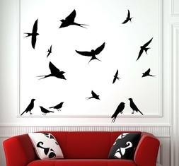 Cute Swallows Large Set Removable Wall Stickers Birds Decal