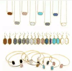 Designer Inspired Jewelry Drusy Set in 10 Colors in Gold Ton