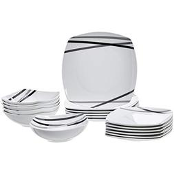 AmazonBasics 18-Piece Dinnerware Set - Modern Beams, Service