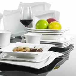 Dinnerware Set Square Dishes White Service for 6