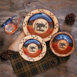 """DINNERWARE SETS - """"MOOSE MOUNTAIN"""" 4-PIECE PLACE SETTING - L"""