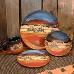 """DINNERWARE SETS - """"MOUNTAIN FOREST"""" 4-PIECE PLACE SETTING -"""