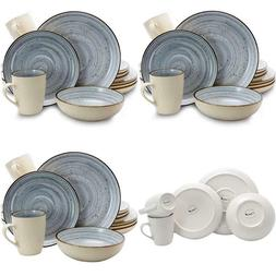 Elama Round Stoneware Luxurious Mellow Dinnerware Dish Set,