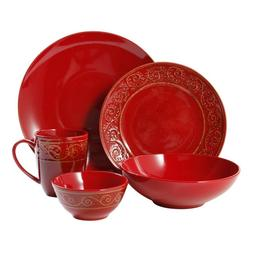 Gibson Elite Manning Scroll red holiday dinnerware 20-piece