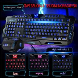 Gaming Keyboard and Mouse Set 3 Color Changing Backlight Mou