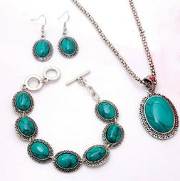 Jewelry Set Ladies' Green Oval Turquoise Pendant Chains Casu