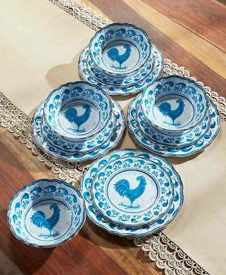 12 pc country rooster melamine dinnerware set