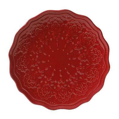 The Lace 12-Piece Dinnerware Set, Red