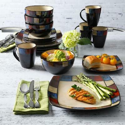 DINNERWARE 16-Piece Bowls Dishes Square Dinner