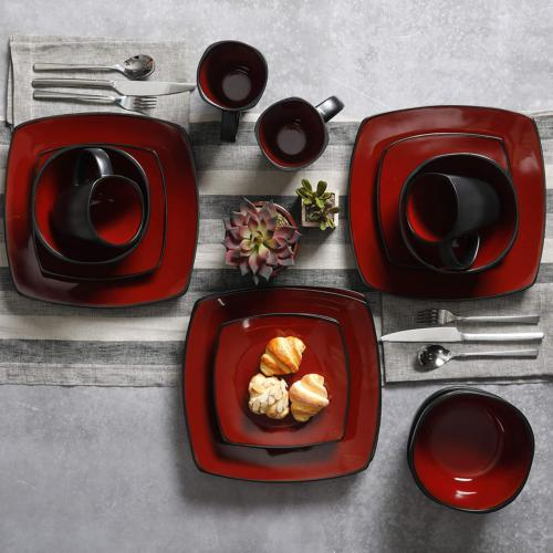 Gibson Square Reactive Glaze Set, Red