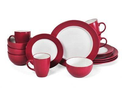 Red 48 Piece Dinnerware Set Dining Dishes Serves 12 Place Se