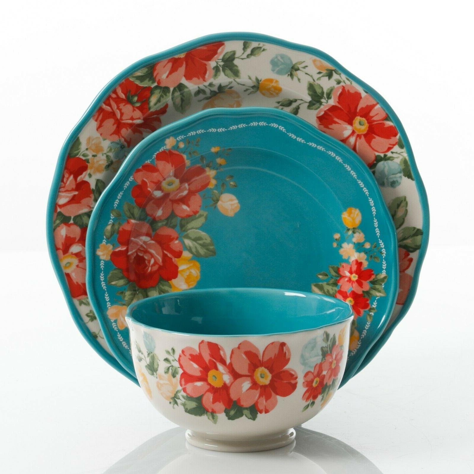The Pioneer Woman Floral 12-Piece Teal