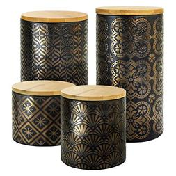 American Atelier Metallic 4 Piece Ceramic Canisters Set with