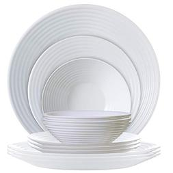 Luminarc P0816 12 Piece Harena Dinnerware Set, 1, White