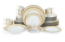 Mikasa Parchment Gold 42-Piece Dinnerware Set for 8 New Mika