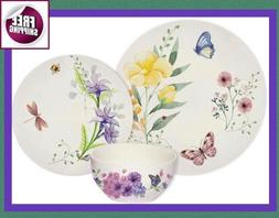 Set Dinnerware 18 Pc Dishes Plate Vintage Classic Butterfly