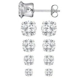 Set of 4 Sizes .925 Sterling Silver 3.75 CTW Round CZ Studs