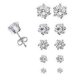 Set of 5 Pairs Sterling Silver Round CZ Studs Earrings in 5