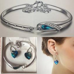 SET: White Gold & Sterling silver, Crystal: Turquoise Blue E