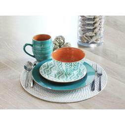 TANGIERS TURQUOISE 16 PIECE DINNERWARE Dishes SET Turquoise