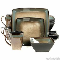 Gibson Tequesta 16pc Square Dinnerware Set- Taupe 92131.16 N