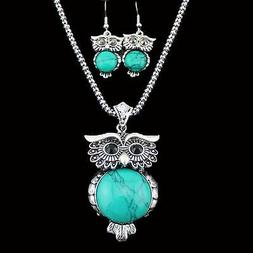 Turquoise Crystal Chain Jewelry Set Necklace Earrings Owl Pe