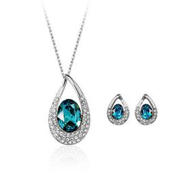 White gold finish turquoise earrings + necklace quality jewe