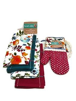 Pioneer Woman Willow Oven Mitt/Pot Holder and Kitchen Towels